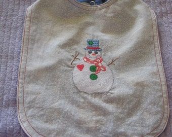 Christmas Bib, Baby/Toddler, Snowman, Free Shipping in US