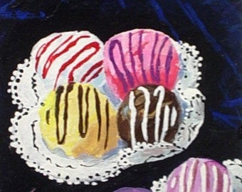 Original Painting * aceo Small Art Format * BON BON CANDY * Art By Rodriguez