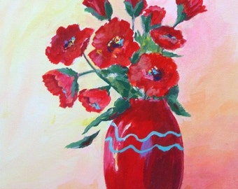 Original Painting * Still Life * RED FLOWERS * Art By Rodriguez * Wall Hanging
