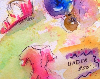 Original Pen and Ink With Watercolor - UNDER FIFTY DOLLARS - Small Art Format * Thoughts Series - Art By Rodriguez