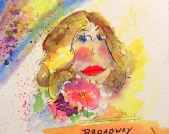 Watercolor With Pen And Ink * BROADWAY LADY - Original Painting - THOUGHTS Series * Small Art Format
