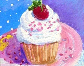 PARTY CUPCAKE - Original Mini ACEO Painting by Rodriguez