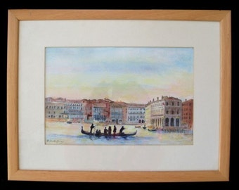 Original Pastel * GONDOLA On The GRAND CANAL * Venice Italy * Framed