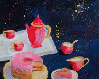 Original Painting * TEA PARTY With CAKE * Small Art Format * Whimsical Art by Rodriguez