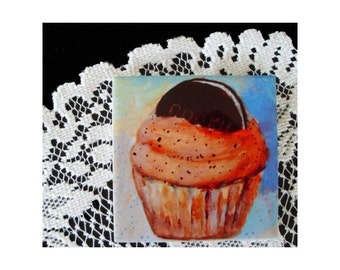 Ceramic Tile Coaster 8 CUPCAKE WITH COOKIE * Original Art by Rodriguez