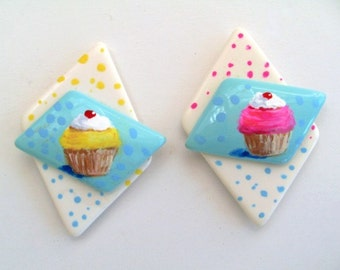 CUPCAKE Refrigerator Magnets - Hand Painted on Vintage Jewelry / Set of Two