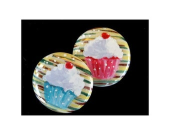 Refrigerator Magnets - PINK and BLUE Cupcakes  -  Hand Painted on Vintage Jewelry - One Of A Kind - Kitchen Decor