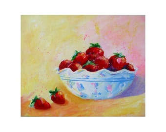 Original Painting on Canvas - BOWL of STRAWBERRIES - Art by Rodriguez - Fruit Art - Kitchen Decor - Wall Hanging