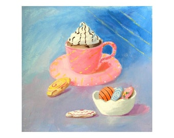 Original Painting - HOT CHOCOLATE In A PINK Cup - Art by Rodriguez - Food Art