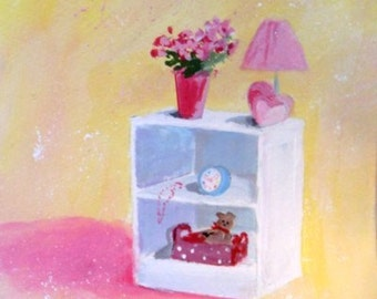 YOUNG GIRLS NIGHTSTAND - Original Painting by Rodriguez
