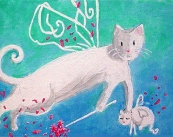 FAIRY MAMA Cat And Kitten - Folk Art ACEO Mini Painting by Rodriguez