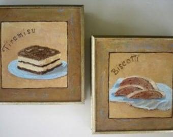 Original Paintings * TIRAMISU And BISCOTTI Italian Desserts * Set of Two Paintings * Dessert Art *- Framed