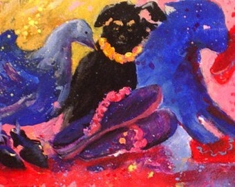 Abstract Mini Painting * ANIMALS AND SHOES * Original Painting * Small Art Format by Rodriguez