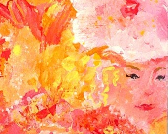 Abstract Mini Painting  HIDDEN LADIES * Small Art Format * Art by Rodriguez