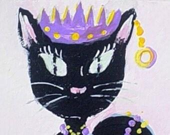 Original Painting * PRINCESS CAT * ACEO Mini Painting * Fantasy Art by Rodriguez * Small Art Format Cat Painting