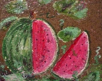 Ceramic Tile * GARDEN WATERMELON * Hand Painted * Ready to Hang * Kitchen Decor * Fruit Decor
