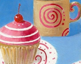 Original Painting * COFFEE And CUPCAKE * ACEO Mini Art By Rodriguez * Small Art Format * Dessert Series
