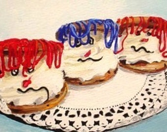 Original Mini Painting * MONSTER COOKIES * Halloween Small Art Format by Rodriguez