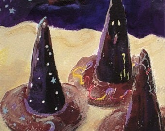 Surreal Halloween Painting - WITCHES HATS - Small Art Format * Original Art by Rodriguez