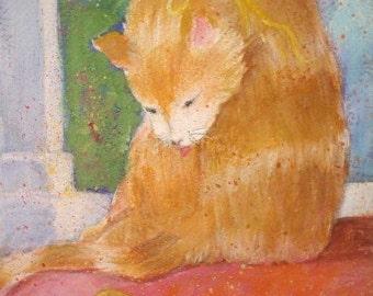 Original Watercolor * ORANGE CAT * by Rodriguez * Cat Decor