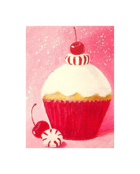 PEPPERMINT CANDY Cupcake - ACEO Mini Painting
