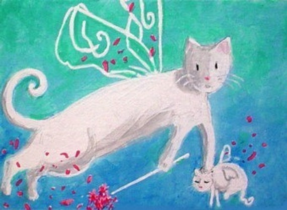 Original Painting * FAIRY MAMA Cat And Kitten * Folk Art ACEO Mini Painting * Small Art Format by Rodriguez