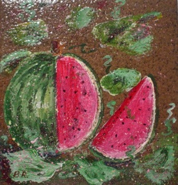 Hand Painted Ceramic Tile * GARDEN WATERMELON * Ready to Hang * Kitchen Decor