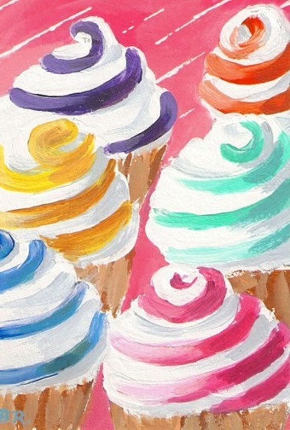 CANDY COLOR SWIRL Cupcakes Original aceo Mini Painting by Rodriguez