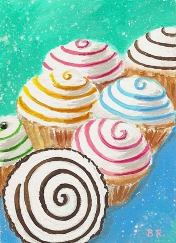 CUPCAKE SWIRLS Original Mini ACEO Painting by Rodriguez