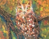 Red Phase Owl ACEO Print