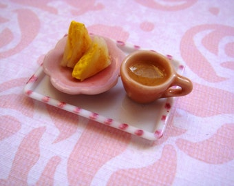Dollhouse Miniature 1/12 Scale - Egg Sandwich with Coffee Teatime Tray Set
