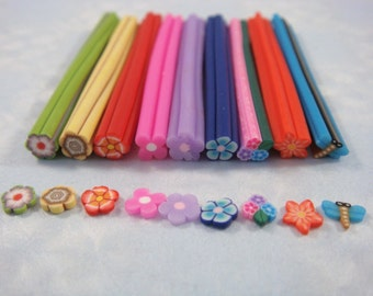 Dollhouse Miniature - Assorted Polymer Canes (Set of 9) - SUPPLIES