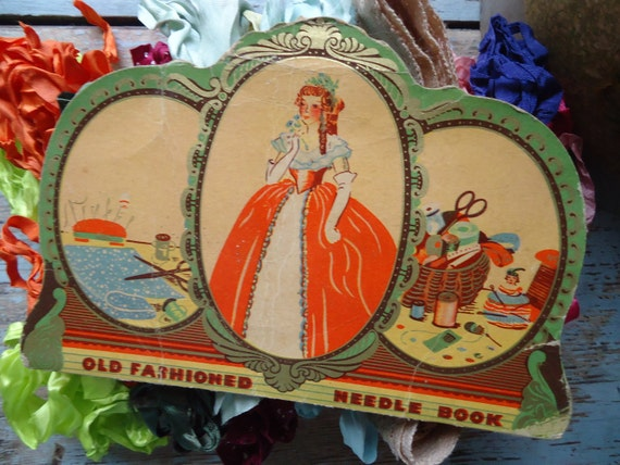 Vintage Sewing Box Filled with Crinkly Ribbon and Old Needle Book