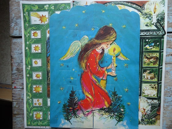 Reserved for Martha Three Vintage Advent Calendars