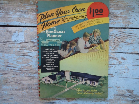 Vintage 1948 How to Plan a Home Book with Templates Homograf