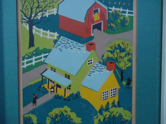 Bright Barn and Farmhouse Signed by Olah Vintage Serigraph