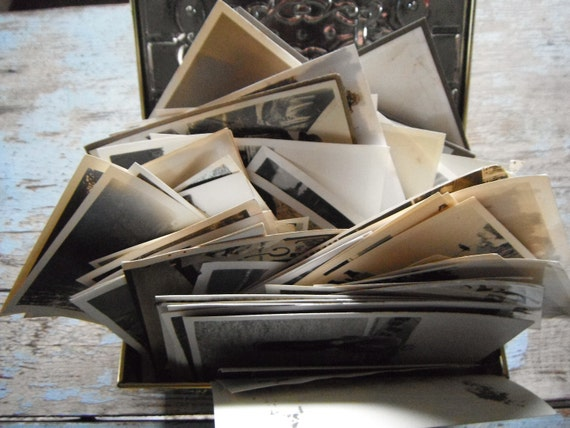 100 Vintage Snapshots and Old Photos in Treasure Chest Tin