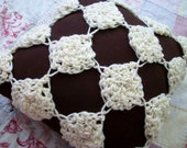 Fall : Brown and Cream Plush Crocheted Pillow