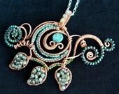 Leafy Vine Statement Necklace - crystal, copper, quartz