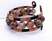 Jungle Cuff  --  Leopard Jasper and Copper Wire Wrapped
