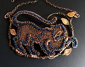 Stalking Panther Necklace Beaded Netted Copper Statement Necklace