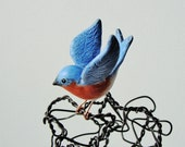 Tiny Bluebird -- Polymer Clay and Wire Sculpture - sparkflight