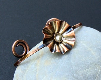 Copper Poppy Flower Cuff Bracelet