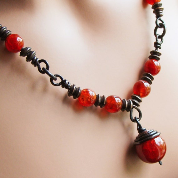 Fire Agates Dark Copper Handmade Links Necklace