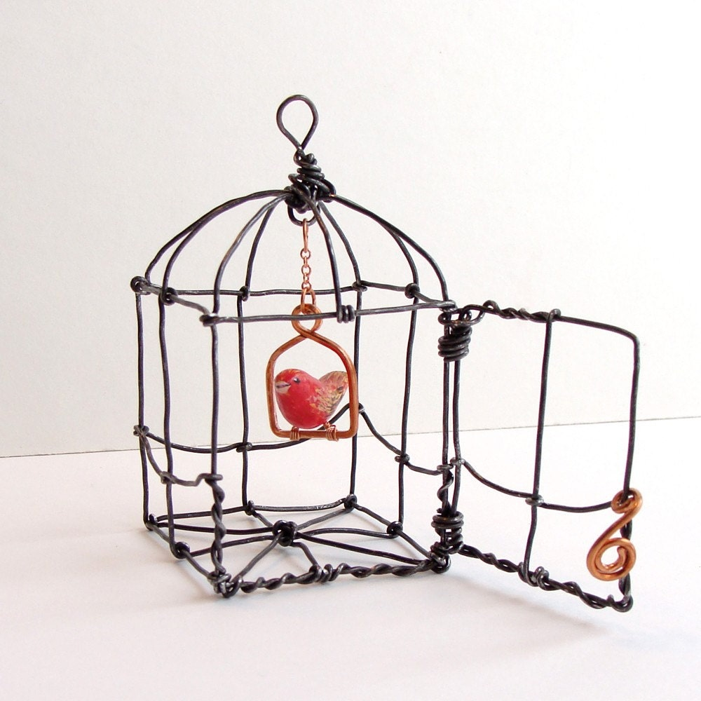 Wire swinging bird perch