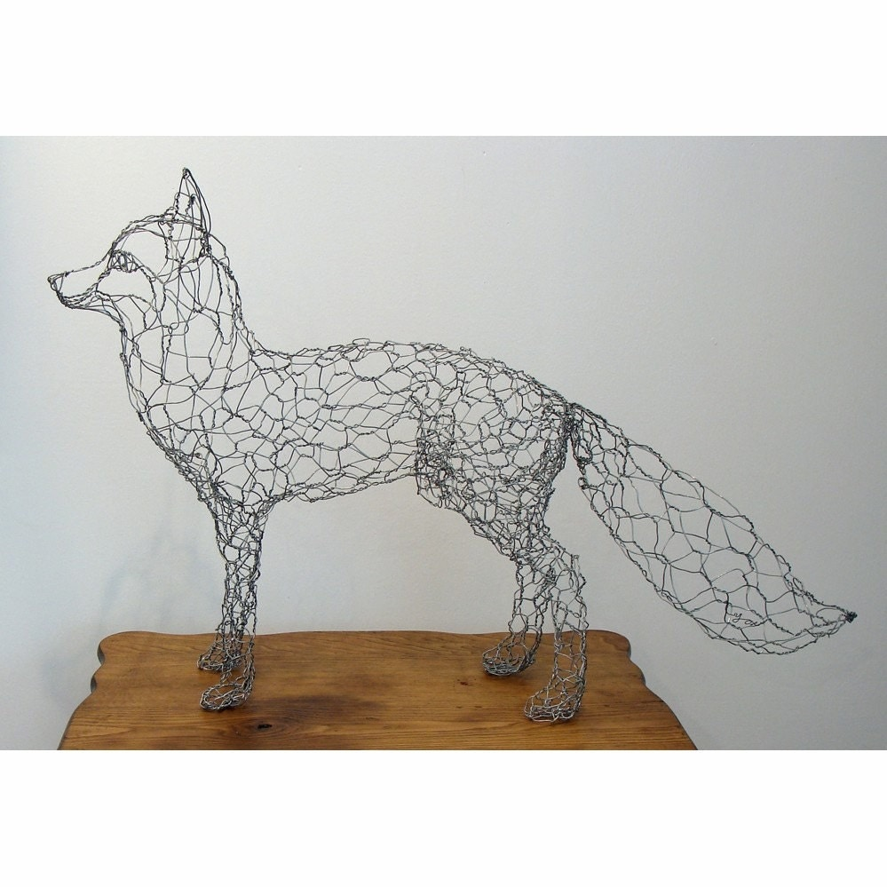 Fox wire sculpture for 3d art sculpture ideas