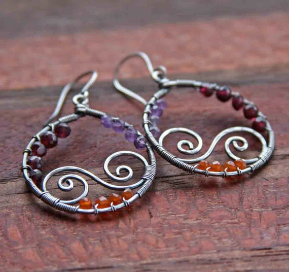 Sterling Silver Spiral Stone Hoops