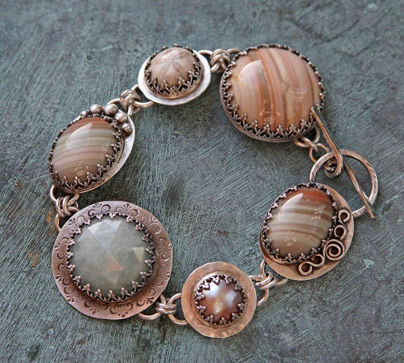 Striped Agate and Sterling Silver Metalwork Bracelet