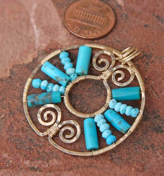 last chance oOo turquoise and gold filled sun dial pendant