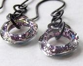 Ozone earrings with vitrail light Swarovski rings
